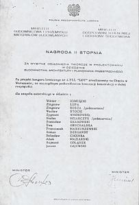 1972 - Nagroda zespołowa za projekt hangaru nr 4 PPL LOT na Okęciu